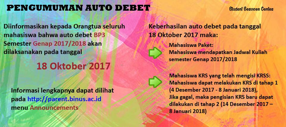 PENGUMUMAN AUTO DEBET SKS II (PELUNASAN) DAN TEXTBOOK PERIODE GANJIL 2017/2018