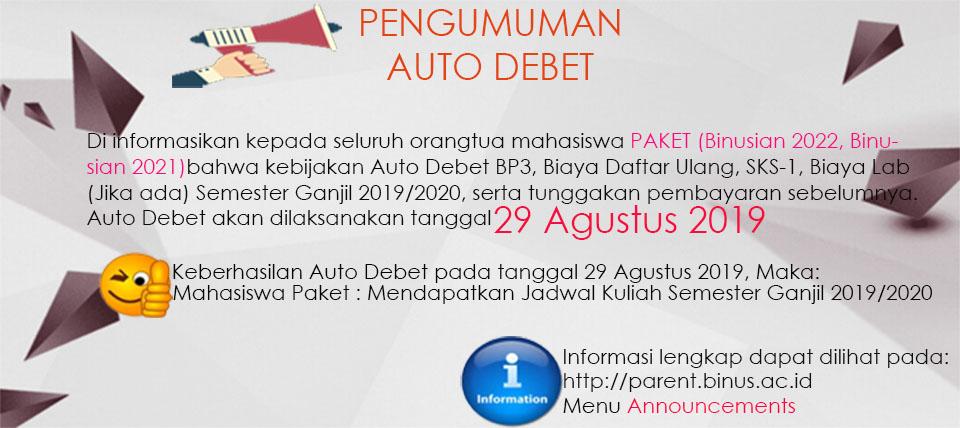 PENGUMUMAN AD 29 Agustus 2019 Khusus Mahasiswa Paket