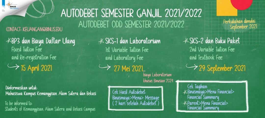 Pengumuman  Autodebet Semester Ganjil 2021/2022 tanggal 27 Mei 2021