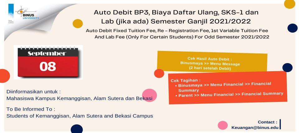 Pengumuman Pendaftaran Bantuan SPP (Uang Kuliah) Ganjil 2021/2022